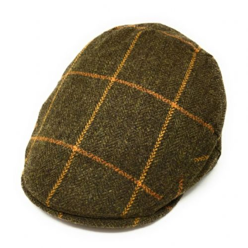 Christys Tweed Flat Cap - Balmoral - Green with Orange Check
